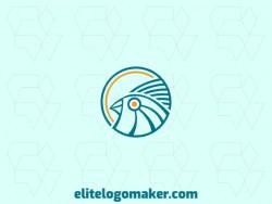 Logotipo circular customizável com a forma de um pássaro azul com cores amarelo e azul.