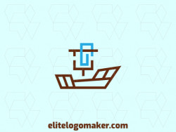 Double meaning logo design with creative concept forming a boat combined with a clip with a refined design, the colors used are brown and blue colors.