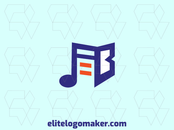 Logo design in the shape of a book combined with a musical note with minimalist design and blue, orange, and white colors, this logo is ideal for any business.