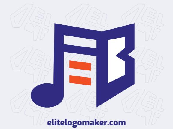 Logotipo minimalista com formas criativas formando um livro combinado com uma nota musical com design refinado e cores azul e laranja.