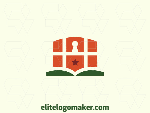 Abstract logo with solid shapes forming a book combined with a shield, with a refined design with green and red colors.