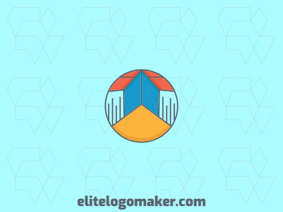 Circular logo design in the shape of a book composed of abstracts shapes and lines with yellow, blue, orange, and gray colors.