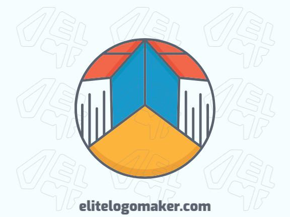 Logotipo elegante composto por formas criativas formando um livro com estilo circular, as cores utilizadas foi amarelo, laranja, cinza, e azul.