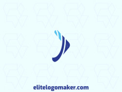 Creative logo in the shape of a boomerang, with memorable design and minimalist style, the color used is blue.