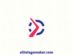 Vector logo in the shape of a boomerang with a minimalist style, with blue and red colors.