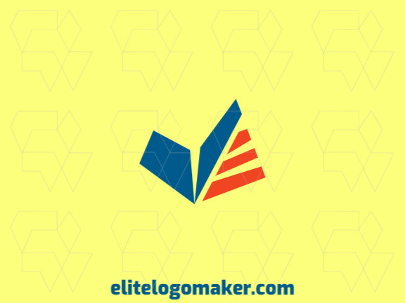 Minimalist logo design consists of the combination of a boomerang with a shape of a book with orange and blue colors.