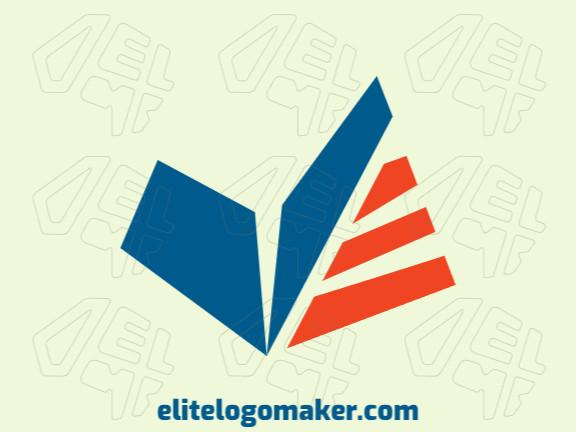 Logotipo criado com estilo abstrato formando um bumerangue unido com um livro com as cores laranja e azul.