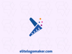Abstract logo design with the shape of a boomerang combined with a lab bottle with blue, pink, purple and yellow colors.