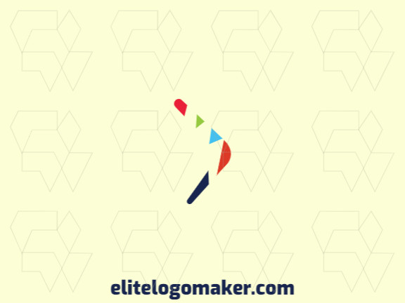 Logo available for sale in the shape of a boomerang, with abstract style with green, blue, orange, and red colors.