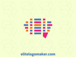 Mosaic logo with creative concept forming a brain with a refined design and pink, blue, and orange colors.