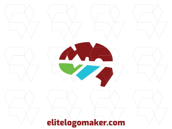 Logotipo criativo com design abstrato formando um cérebro com as cores verde, vermelho, e azul.