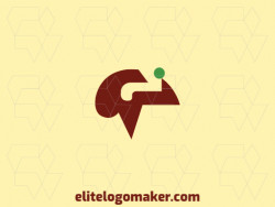 Customizable logo consisting of solid shapes and abstract style forming a brain with brown and green colors.