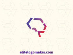 Create a vector logo for your company in the shape of a brain with a gradient style, the colors used were purple and pink.