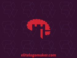 Abstract logo with a refined design, forming a brain combined with a castle with the color red.