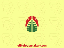 Professional logo in the shape of a brain combined with a leaf with symmetric style, the colors used was green and red.