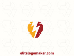 Logo with creative design, forming a brain combined with a lightning bolt, with abstract style and customizable colors.