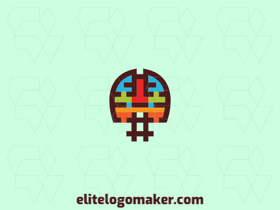 Abstract logo design with the shape of a brain merged with a hashtag with red, brown, green, orange and blue colors.
