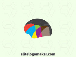 Abstract logo design in the shape of a brain combined with mountains composed of abstract elements with pink, green, blue, red, brown, yellow, black, orange, and purple colors.