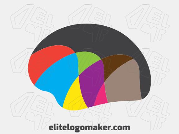 Logotipo simples e profissional com a forma de um cérebro combinado com uma montanha com estilo criativo, as cores utilizadas foi laranja, azul, vermelho, roxo, marrom, preto, e verde.