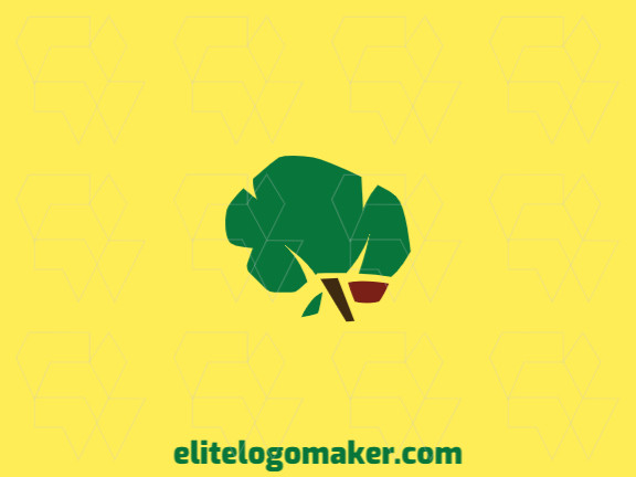 Customizable logo composed of solid shapes and double meaning style, forming a brain combined with a tree with green, brown, and red colors.