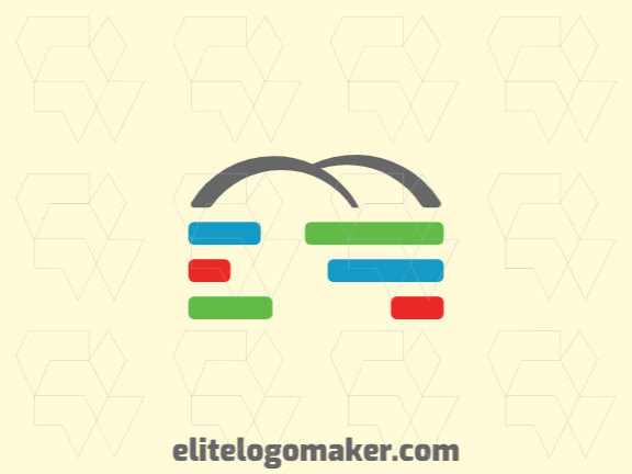 Minimalist logo in the shape of a bridge combined with a graph, the colors used are green, red, blue, and gray.