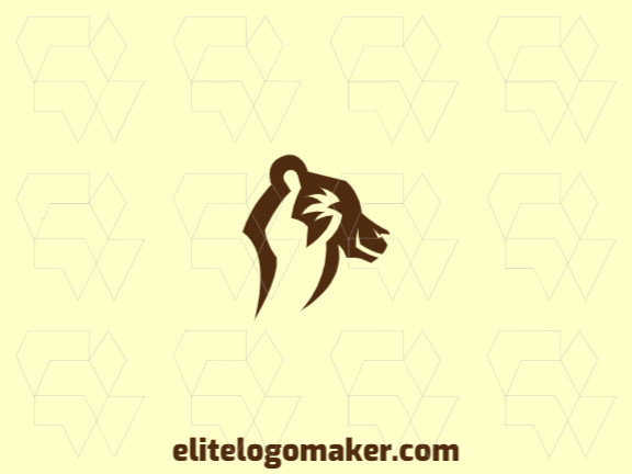 Animal logo in the shape of a brown bear head composed of abstracts shapes and refined design with brown color.