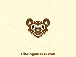 Logo design with the illustration of a brown bear head with a unique design and abstract style.
