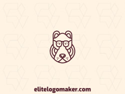 Vector logo in the shape of a brown bear with monoline style and brown color.