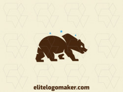 Exclusive logo in the shape of a brown bear, with abstract design and blue and brown colors.