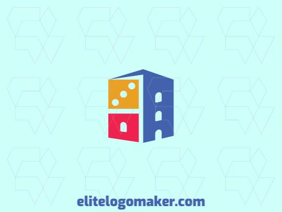 Logotipo abstrato com a forma de um prédio combinado com um dominó composto por formas abstratas e design refinado.
