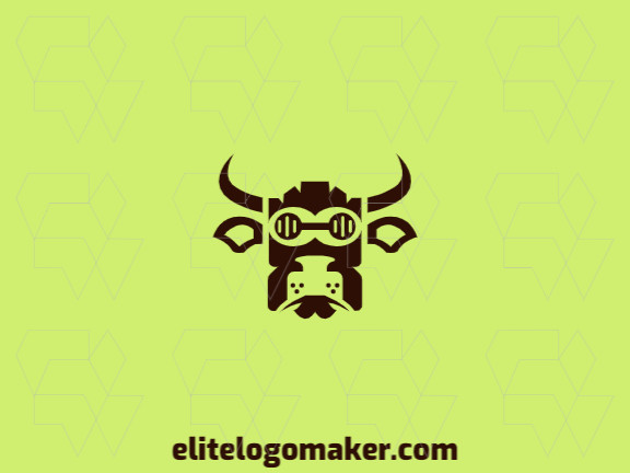 Customizable logo consisting of solid shapes and symmetry style forming a bull head with brown color.