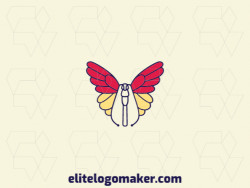 Create a vector logo for your company in the shape of a butterfly with a monoline style, the colors used were blue, red, and yellow.