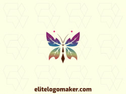 Vector logo in the shape of a butterfly with a gradient style with green, blue, orange, and purple colors.