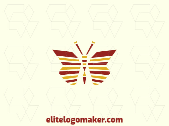 Mosaic logo with the shape of a butterfly with red and yellow colors, ideal for representing your company.
