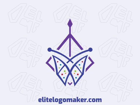 Logotipo criado com estilo simétrico formando uma borboleta combinado com uma pipa com as cores roxo, vermelho, verde, e azul.