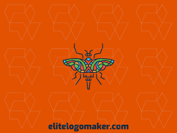 Vector logo in the shape of a butterfly with stylized style with yellow, blue, orange, and green colors.
