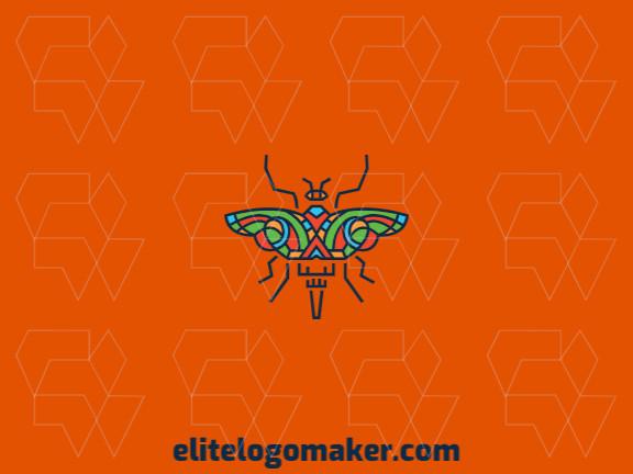 Logotipo composto por formas abstratas formando uma borboleta com estilo criativo, as cores utilizadas foi amarelo, azul, verde, e laranja.