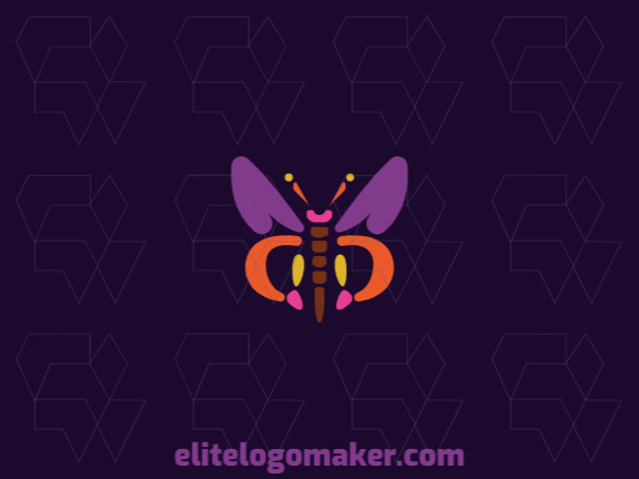 Simple logo design composed of abstract shapes forming a butterfly with purple, pink, orange, yellow, and brown colors.