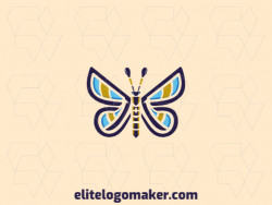 Logo in the shape of a butterfly with stylized style with blue, purple, and yellow colors.