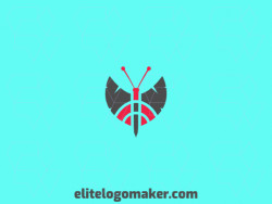Create a vector logo for your company in the shape of a butterfly combined with two axes, the colors used were red and black.