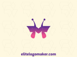 "Logo with creative design, forming a butterfly combined with a letter ""M"", with gradient style and customized colors."