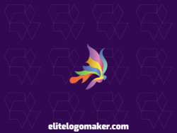 Abstract logo design with the shape of a butterfly with gradient style and colors blue, yellow, purple, green, and orange.