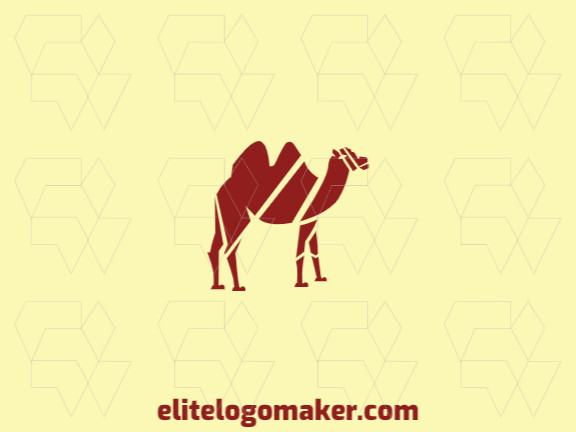 Mascot logo with solid shapes forming a camel with a refined design, the color used is brown.