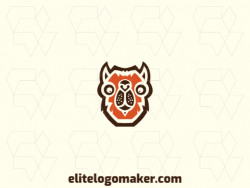 Logo consisting of abstract forms forming a camel head with stylized style, the colors used are orange and brown.