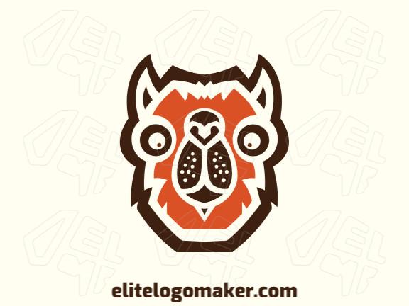 Logotipo customizável composto por formas sólidas e estilo abstrato (mascote) formando uma cabeça de camelo com cores marrom e laranja.