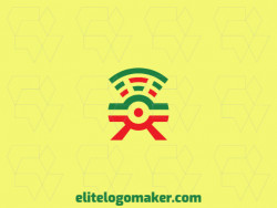 Logo design in the shape of a camera combined with a wifi icon with simple design and orange and green colors, this logo is ideal for any business.