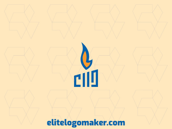 Simple logo composed of abstract shapes and rectangles forming a candle with blue and orange colors.