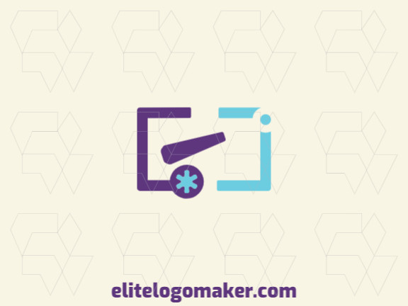 Minimalist logo with the shape of a cannon combined with brackets punctuation with blue and purple colors.