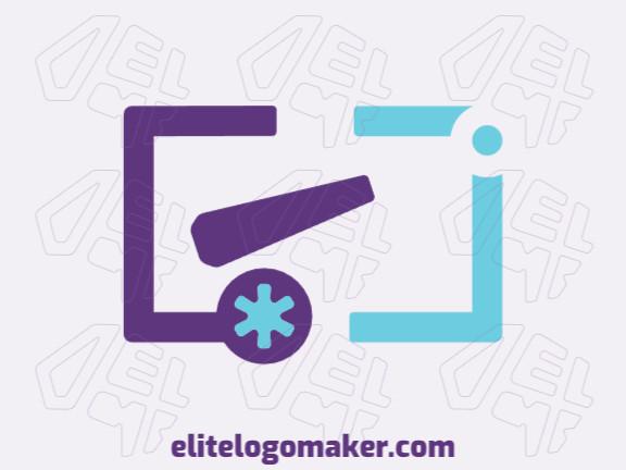 Logotipo criativo com design minimalista formando um canhão mesclado com um asterisco com as cores roxo e azul.
