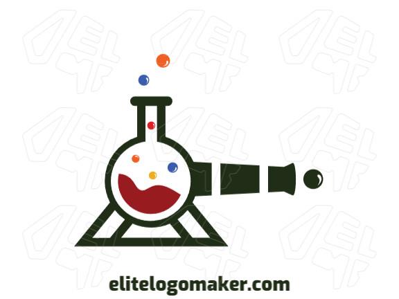 Logotipo ideal para diferentes negócios com a forma de um canhão mesclado com um frasco de laboratório com design criativo e estilo abstrato.